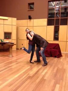 Chelsea Hollow and Sergey Khalikulov rehearse La Serva Padrona